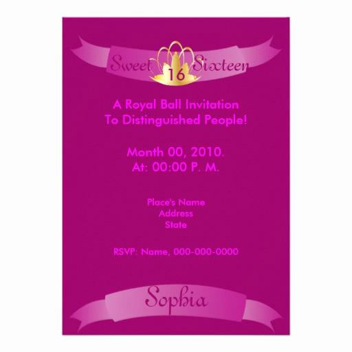 "Royal Ball Invitation Wording Fresh Royal Edict Sweet Sixteen Ball Invitation Cust 5"" X 7"