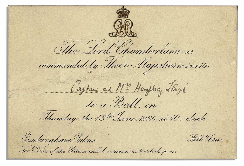 Royal Ball Invitation Wording Lovely Lot Detail Invitation to A Royal Ball at King George V S