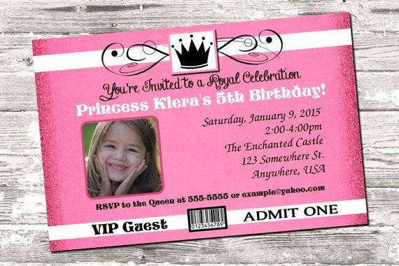 Royal Ball Invitation Wording New Princess Royal Ball Birthday Party Ticket Invitation