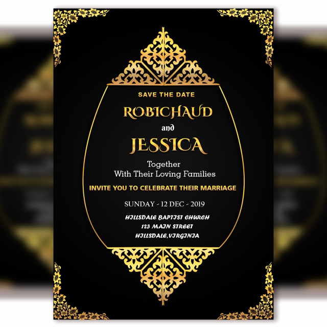 Royal Wedding Invitation Template Beautiful Black Vintage Wedding Invitation Card Template Psd File