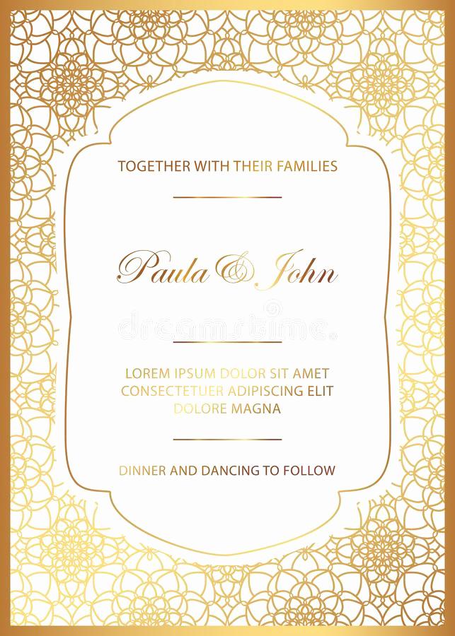Royal Wedding Invitation Template Beautiful Stylish Gold and White Wedding Card Royal Vintage Wedding