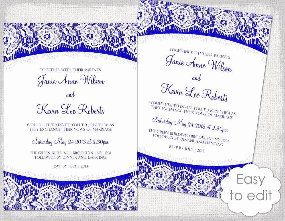 Royal Wedding Invitation Template Elegant Lace Wedding Invitation Template Royal Blue Linen