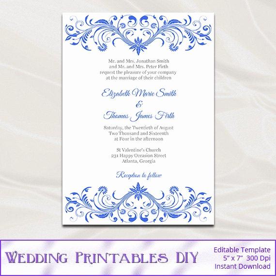 Royal Wedding Invitation Template Fresh Royal Blue Wedding Invitation Template Diy Printable Birthday