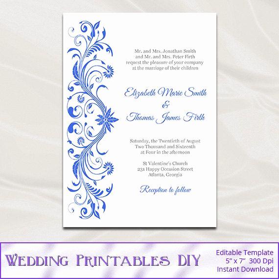 Royal Wedding Invitation Template Luxury Royal Blue Wedding Invitations Template Diy Printable