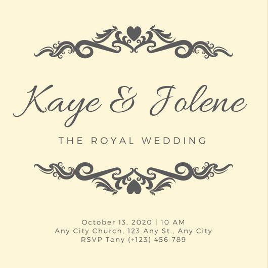 Royal Wedding Invitation Template Unique Peach Vignette Heart Royal Wedding Invitation Templates