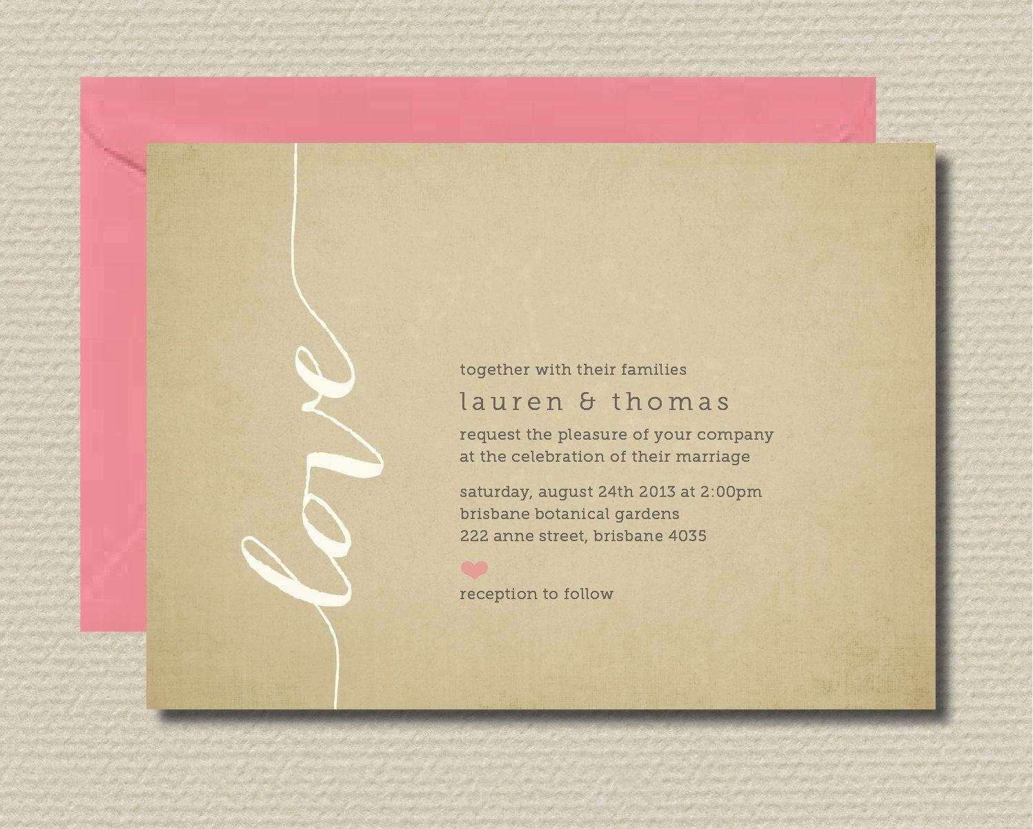 Rsvp Wedding Invitation Wording Best Of Printable Wedding Invitation & Rsvp Love by Rosiedaydesign