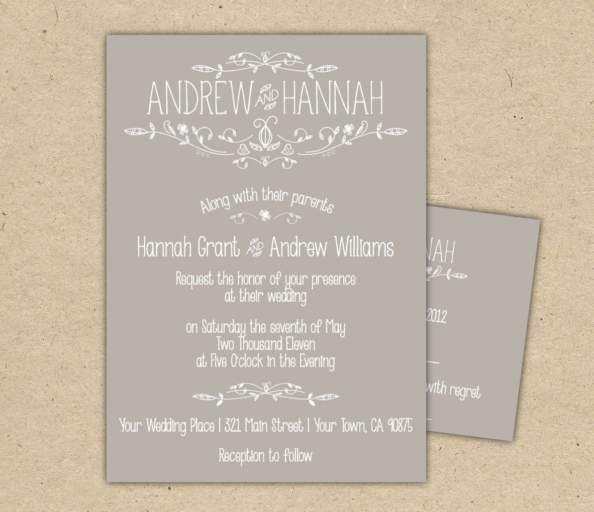 Rsvp Wedding Invitation Wording Fresh Vintage Wedding Invitation and Rsvp P R I N T E D Country