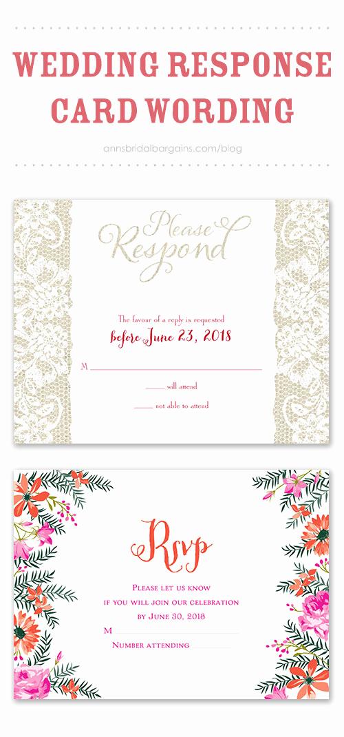 Rsvp Wedding Invitation Wording Fresh Wedding Response Card Wording