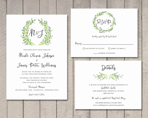 Rsvp Wedding Invitation Wording Unique Laurel Wedding Invitation Rsvp Details Card Printable by