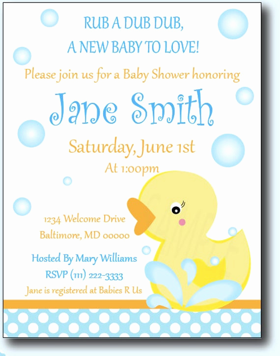 Rubber Duck Baby Shower Invitation Awesome Rubber Ducky Baby Shower or Birthday Invitations