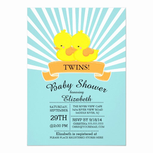 Rubber Duck Baby Shower Invitation Beautiful Modern Rubber Duck Twin Baby Shower Invitations