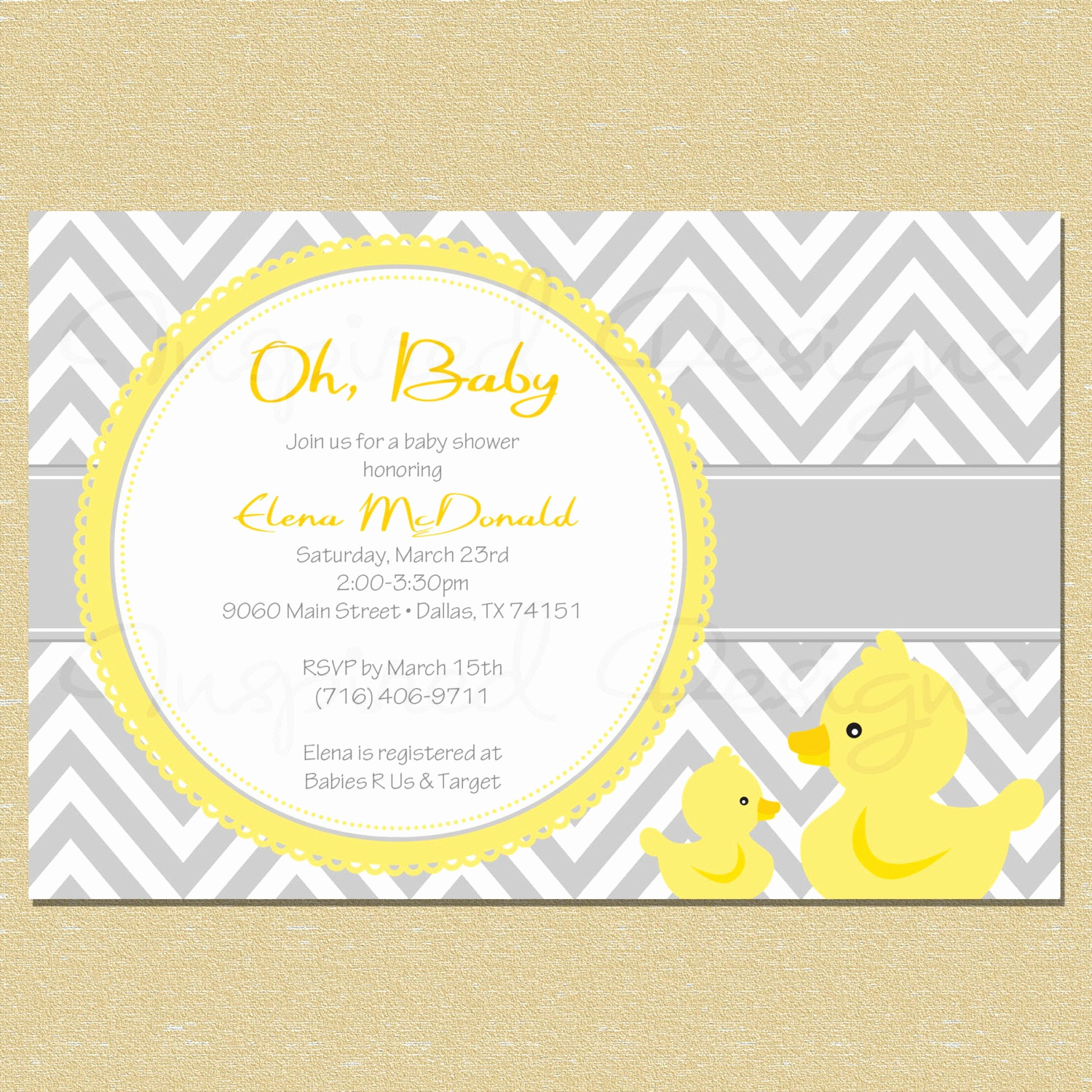 Rubber Duck Baby Shower Invitation Best Of Chevron Rubber Duck Baby Shower Invitation by