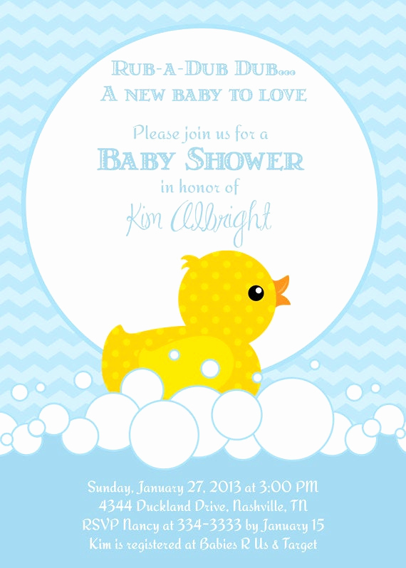 Rubber Duck Baby Shower Invitation Best Of Cute Rubber Duckie Blue or Pink Baby Shower by Partypopinvites