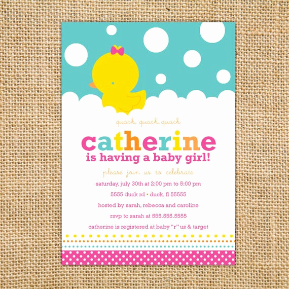 Rubber Duck Baby Shower Invitation Fresh Girl Rubber Ducky Baby Shower Invitation Printable Girl Baby