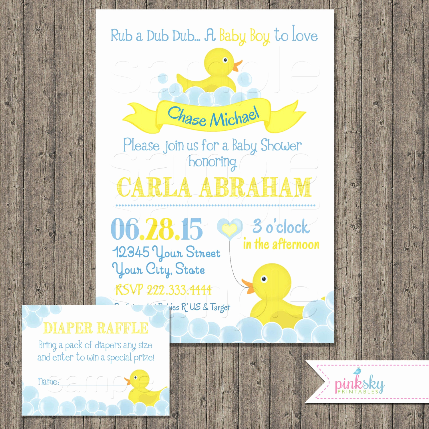 Rubber Duck Baby Shower Invitation Luxury Rubber Ducky Baby Shower Invitation with Free Diaper Raffle
