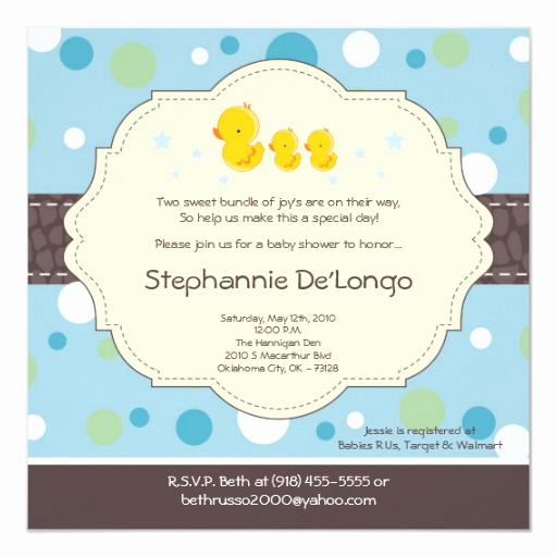 Rubber Duck Baby Shower Invitation New 5x5 Boy Twin Rubber Duck Baby Shower Invitation