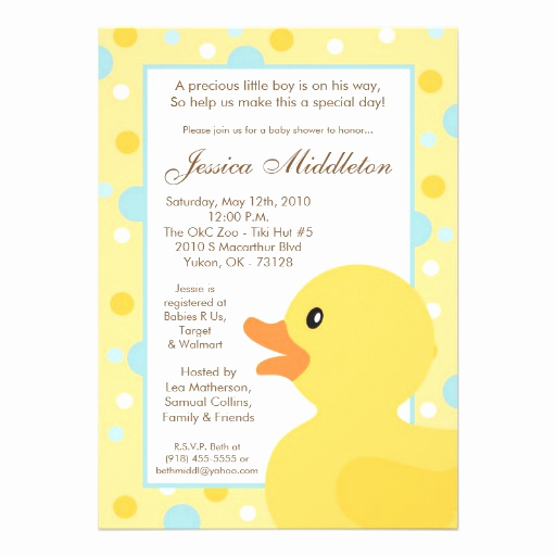 "Rubber Duck Baby Shower Invitation Unique 5x7 Polka Dot Rubber Ducky Baby Shower Invitation 5"" X 7"