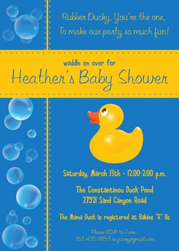 Rubber Ducky Baby Shower Invitation Awesome Items Similar to Bubbles Rubber Ducky Custom Baby Shower
