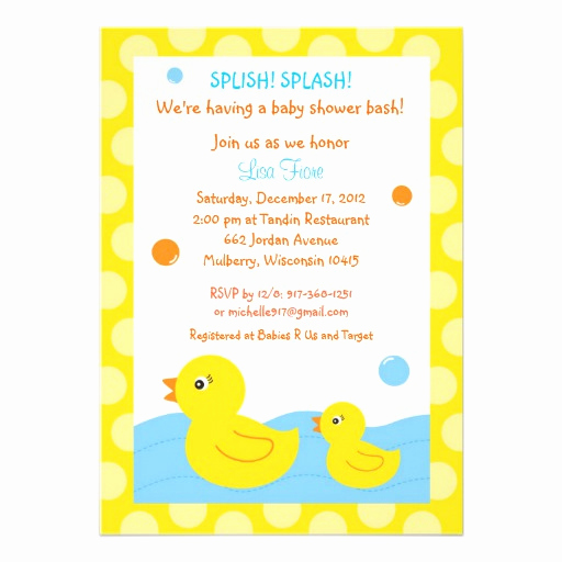 "Rubber Ducky Baby Shower Invitation Awesome Rubber Ducky Duck Neutral Baby Shower Invitations 5"" X 7"