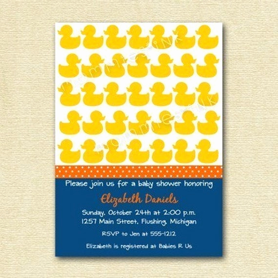 Rubber Ducky Baby Shower Invitation Beautiful Items Similar to Rubber Ducky Baby Shower Invitation