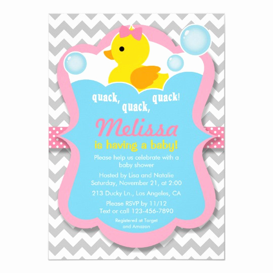 Rubber Ducky Baby Shower Invitation Best Of Quack Rubber Ducky Girl Baby Shower Invitation