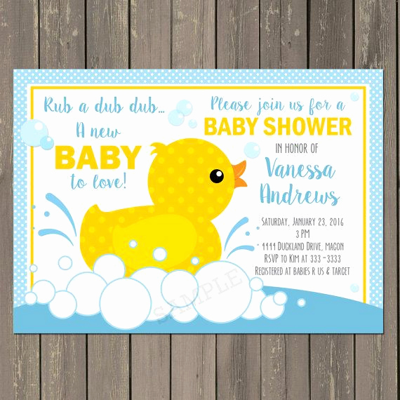 Rubber Ducky Baby Shower Invitation Best Of Rubber Duck Baby Shower Invitation Rubber Ducky by