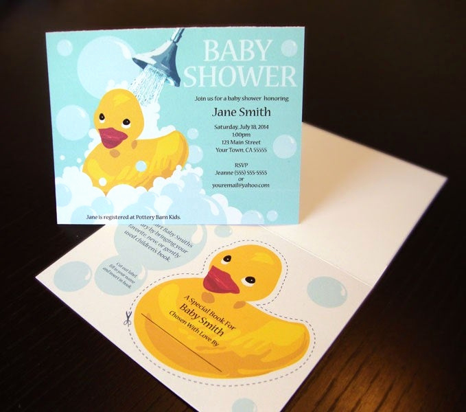 rubber ducky baby shower invitation with