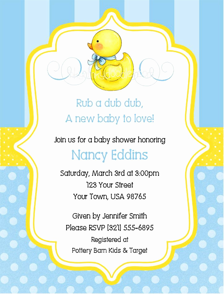 Rubber Ducky Baby Shower Invitation Elegant Show Invitations Duck