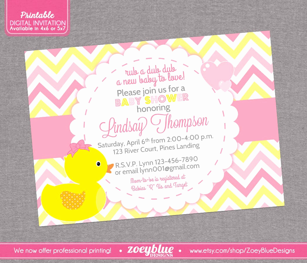 Rubber Ducky Baby Shower Invitation Fresh Girl Rubber Ducky Baby Shower Invitation Girl by