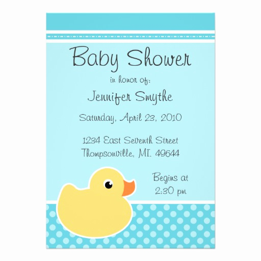 "Rubber Ducky Baby Shower Invitation Fresh Rubber Ducky Aqua Baby Shower Invitations 5"" X 7"