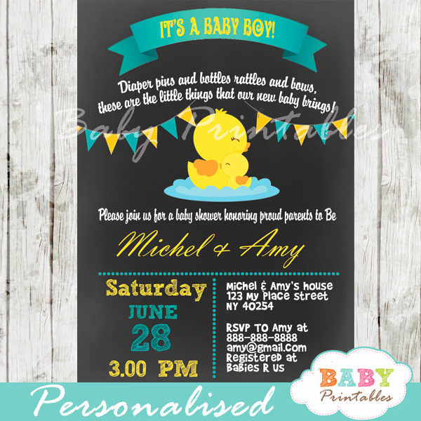 Rubber Ducky Baby Shower Invitation Inspirational Chalkboard Rubber Ducky Baby Boy Shower Invitation D140