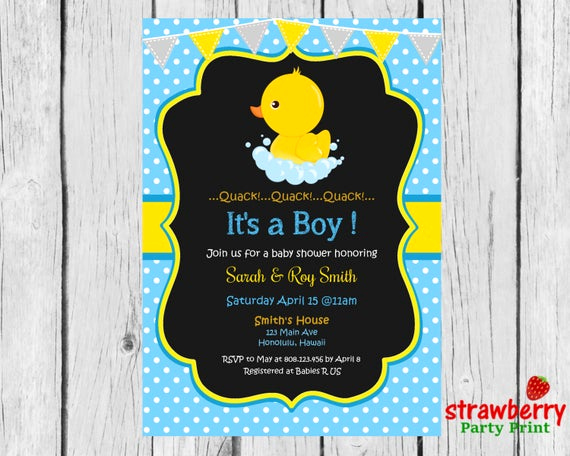 Rubber Ducky Baby Shower Invitation Lovely Rubber Duck Baby Shower Invitation Chalkboard Yellow Ducky