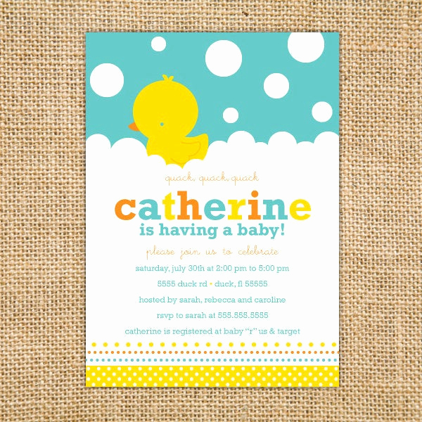 Rubber Ducky Baby Shower Invitation Lovely Rubber Ducky Baby Shower Invitation Printable Duck