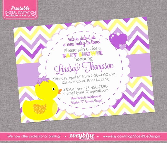 Rubber Ducky Baby Shower Invitation Luxury Girl Rubber Ducky Baby Shower Invitation Girl by