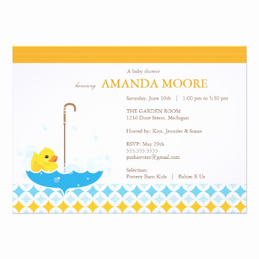 "Rubber Ducky Baby Shower Invitation New Rubber Ducky Baby Shower Invitation 5"" X 7"" Invitation"