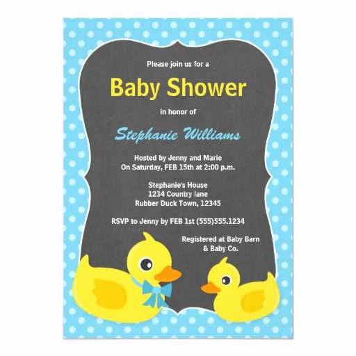 Rubber Ducky Baby Shower Invitation New Rubber Ducky Baby Shower Invitation Blue & Yellow