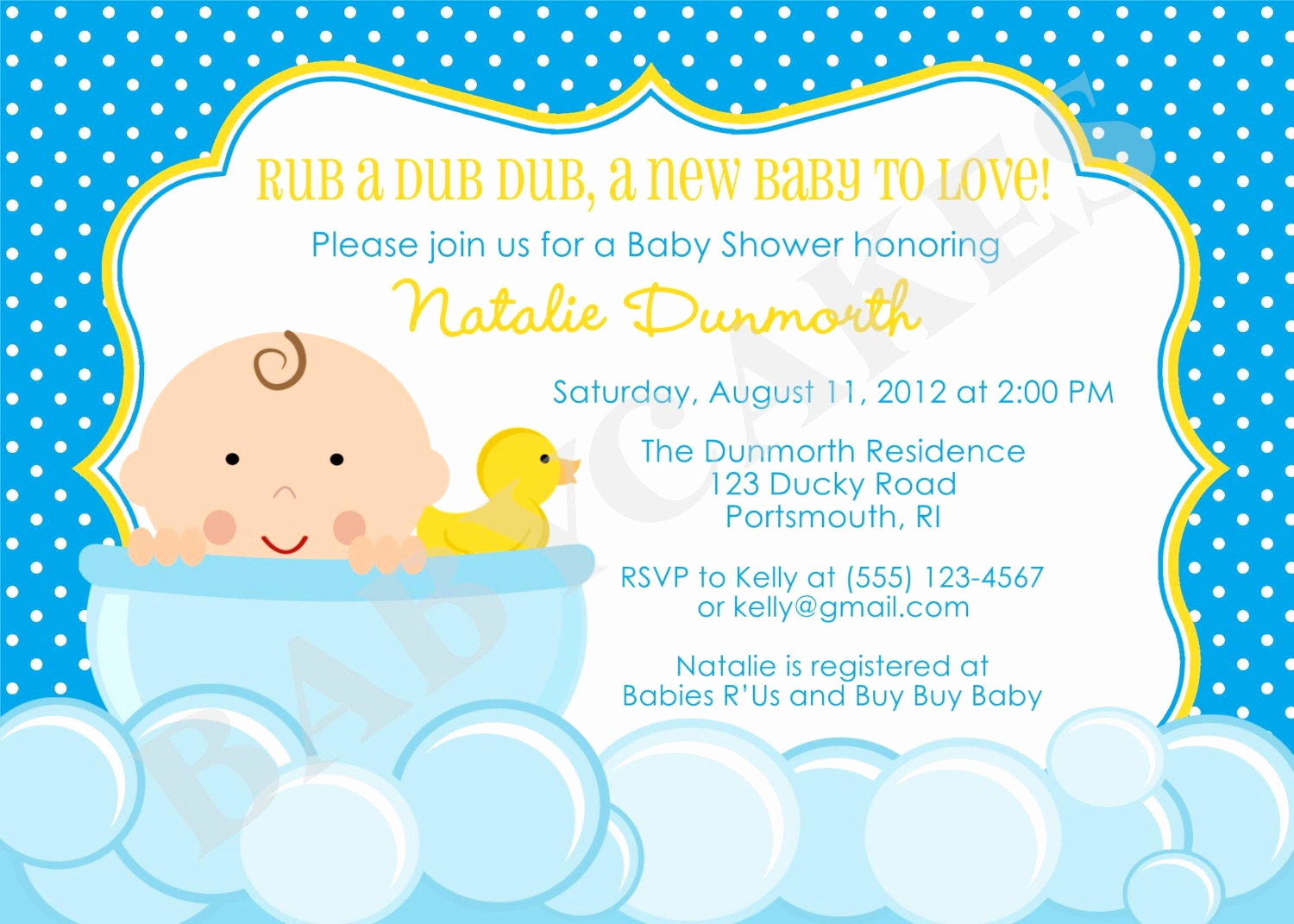 Rubber Ducky Baby Shower Invitation New Rubber Ducky Baby Shower Invitation Diy Print Your Own