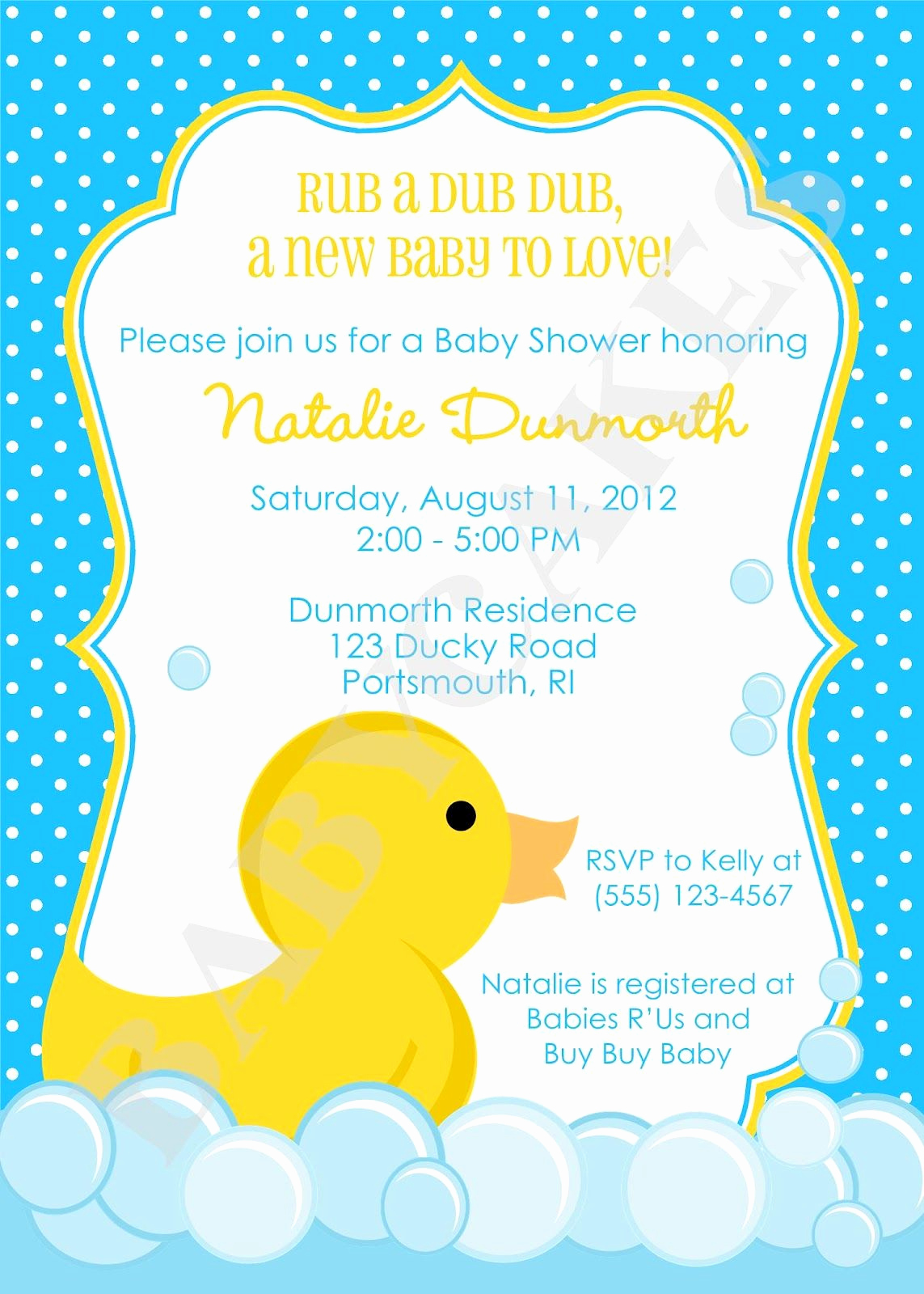 Rubber Ducky Baby Shower Invitation Unique Cute Duck Invitation Party
