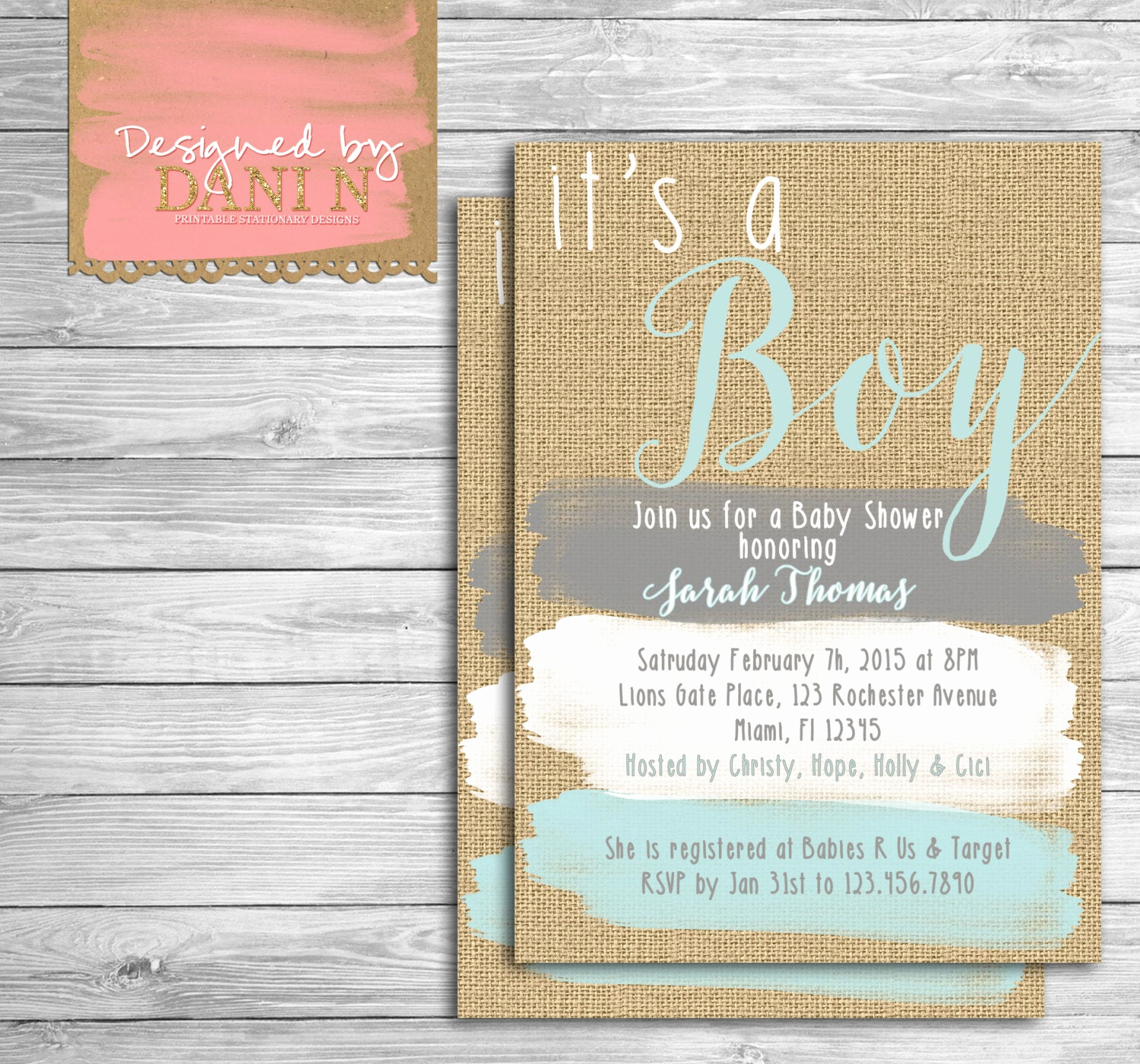 Rustic Baby Shower Invitation Awesome Baby Shower Invite Rustic Burlap Invitation Paint Strokes