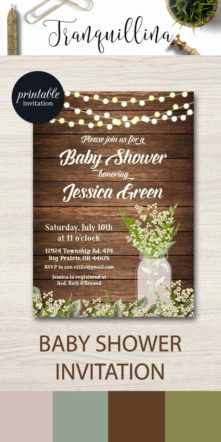Rustic Baby Shower Invitation Beautiful Rustic Baby Shower Invitation Printable Mason Jar Baby