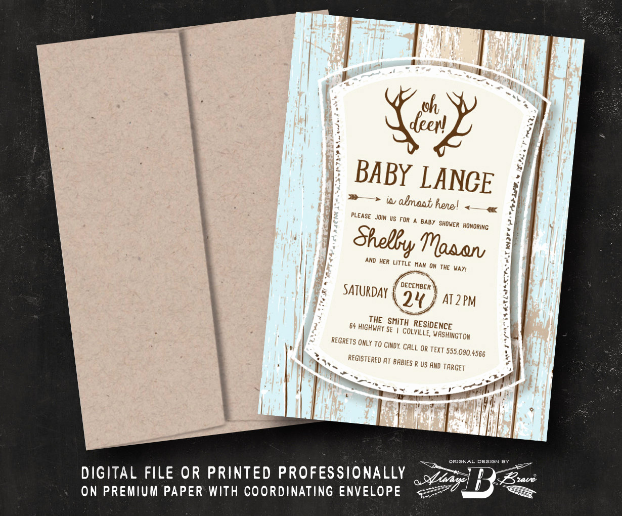 rustic baby shower invitation woodland
