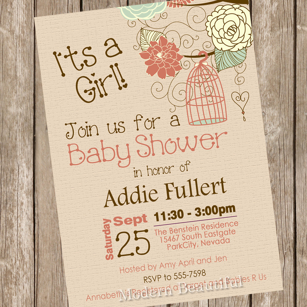 Rustic Baby Shower Invitation Inspirational Rustic Bird Cage Baby Shower Invitation Fall Baby Shower