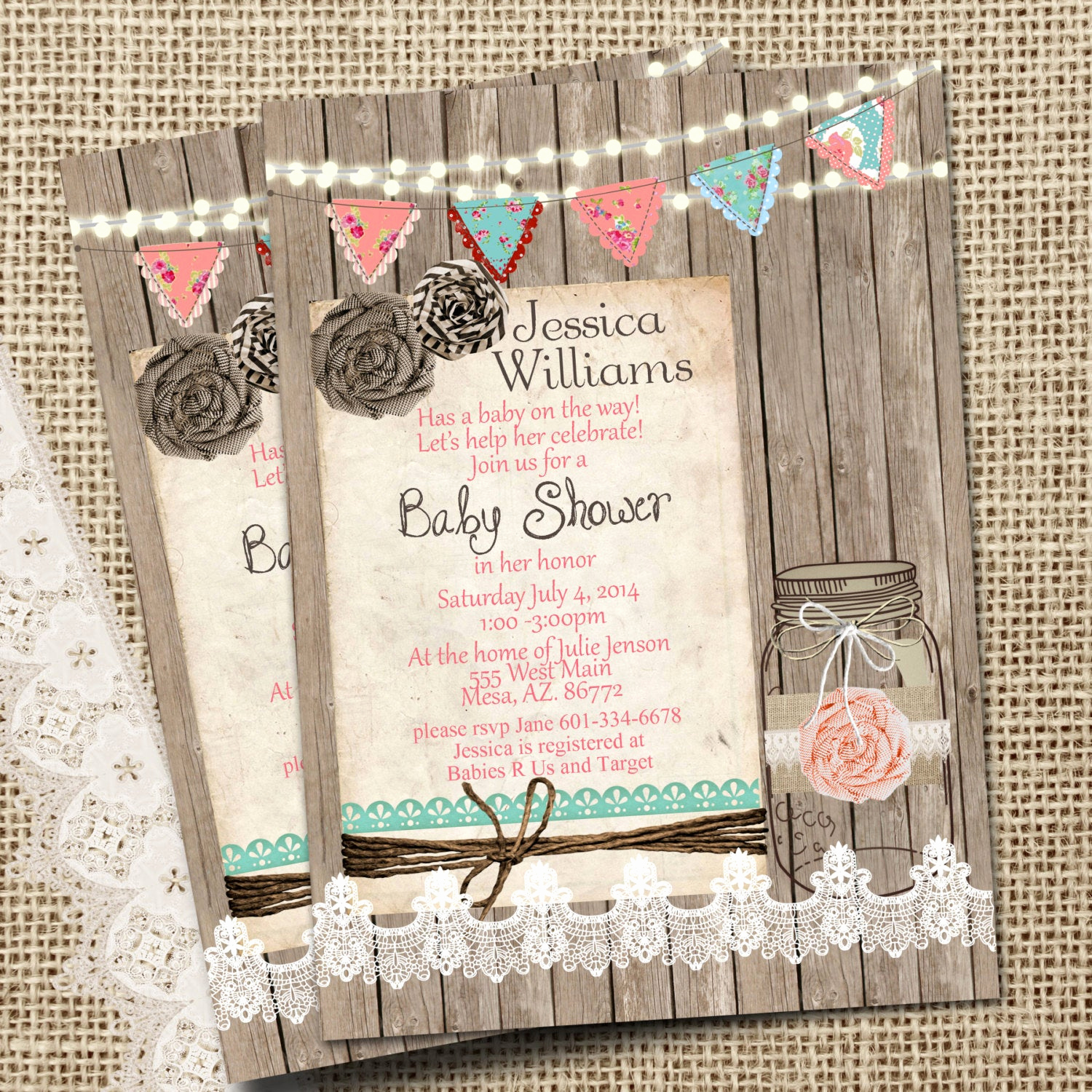 Rustic Baby Shower Invitation Luxury Rustic Mason Jar Burlap and Lace Baby Shower Invitation
