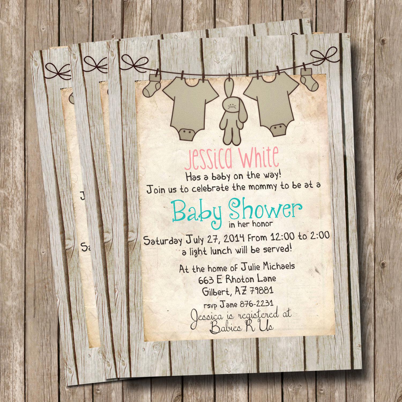 Rustic Baby Shower Invitation Unique Rustic Baby Shower Invitation Invite Wood Shabby