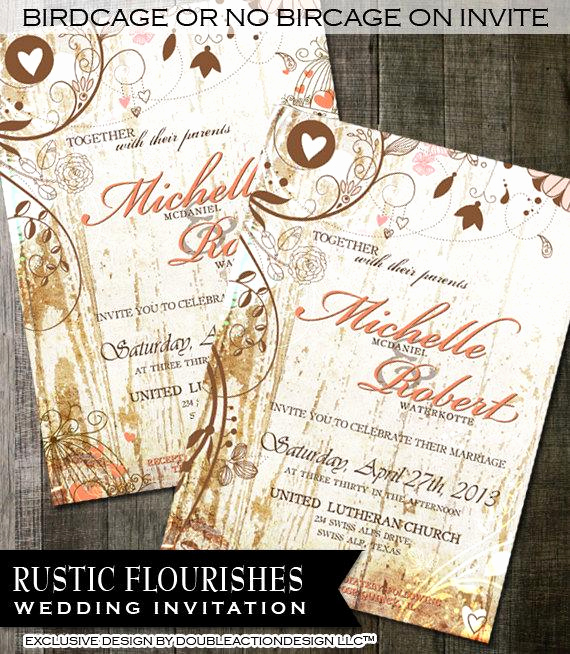 Rustic Wedding Invitation Background Awesome Country Rustic Wedding Invitation Chic Fancy Flourishes On