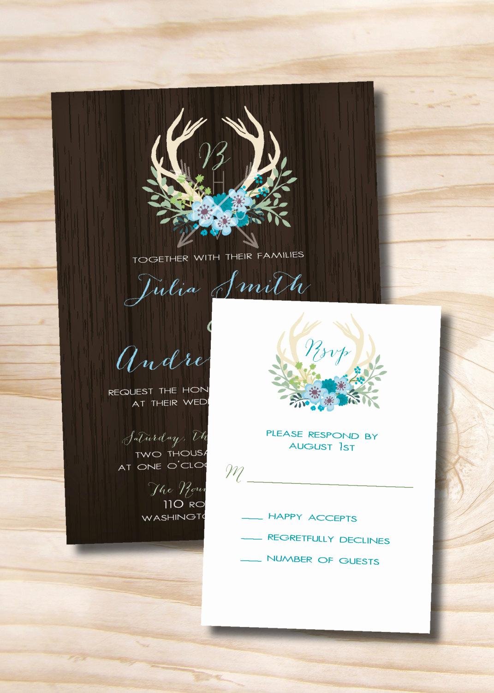 Rustic Wedding Invitation Background Beautiful Rustic Antlers Wooden Background Wedding Invitation and