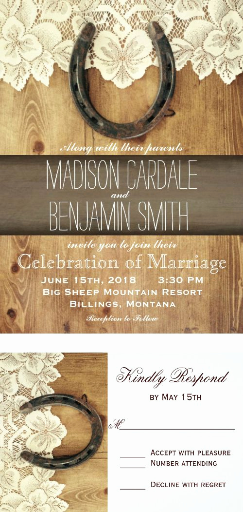 Rustic Wedding Invitation Background Best Of Country Western Horseshoe Lace Wedding Invitations
