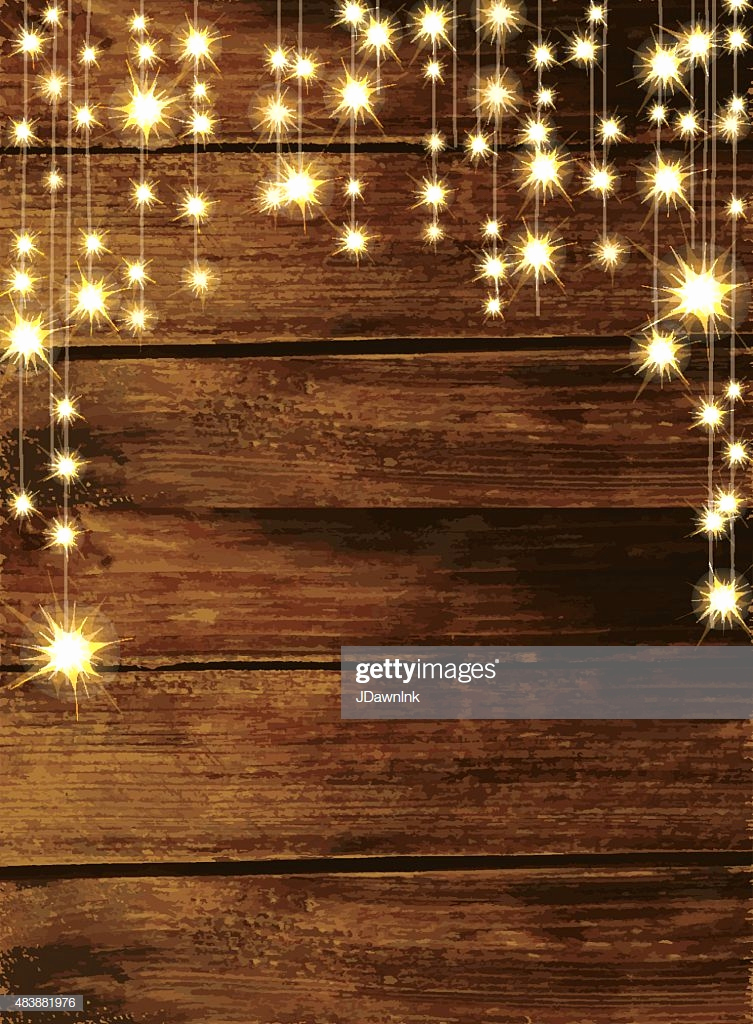 Rustic Wedding Invitation Background Best Of Wooden Background with String Lights Stock Illustration