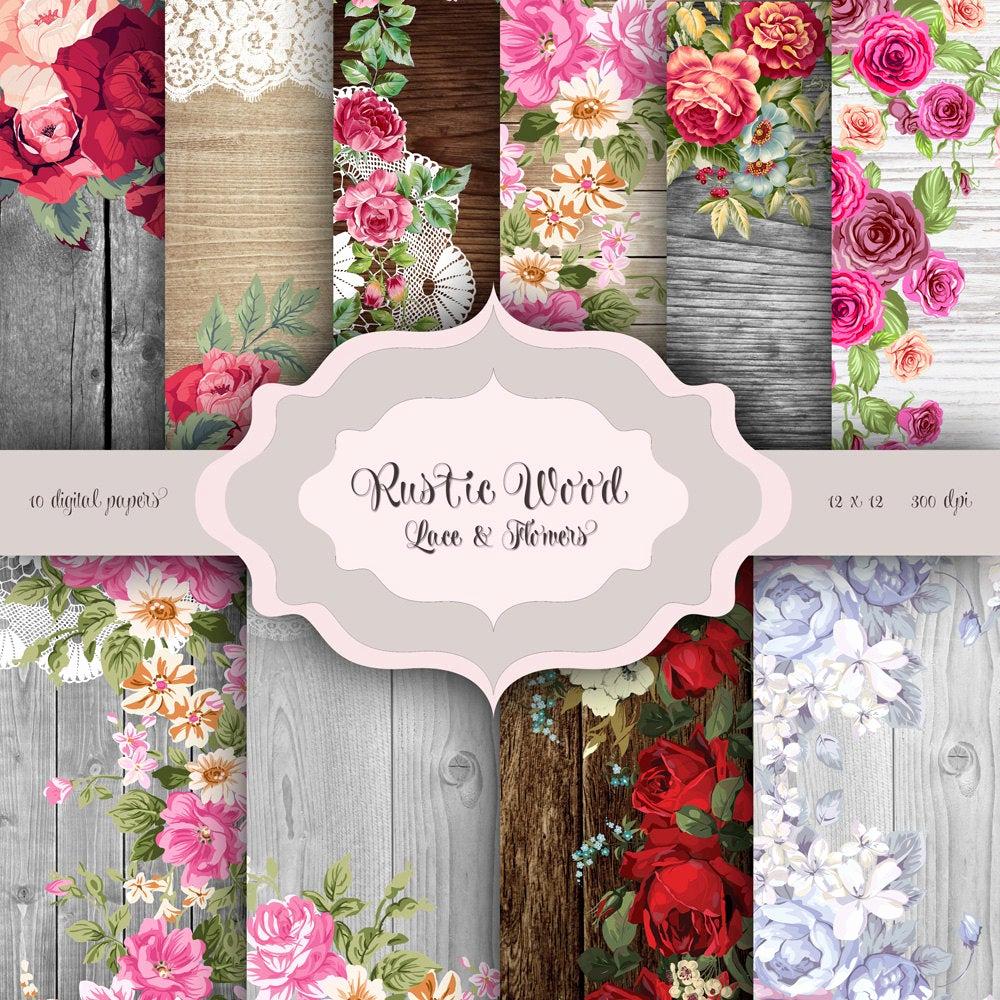 rustic wood flowers lace digital paper