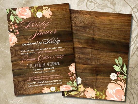 Rustic Wedding Invitation Background Unique Bridal Shower Invitations Boho Rose Gold Blush Florals On